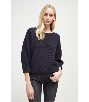 French Connection Ottoman Mozart Pleat Jumper (Utility Blue/Navy)