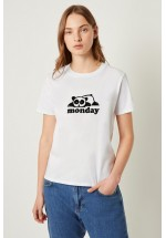 French Connection Womens Panda Monday Graphic T-shirt (White)