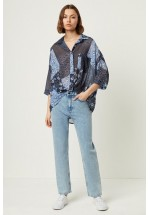 French Connection Womens Patchwork Floral Georgette Twist Front Shirt (Blue)