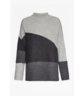 French Connection Ana Patchwork Knitted Jumper (Beige/Brown Multi)