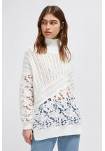 French Connection Patchwork Mozart Lace Jumper (Summer White)