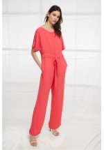 French Connection Patras Crepe Long Jumpsuit (Azalea)