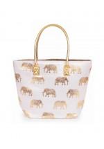 Powder Elephant Print Beach Bag (Pink)