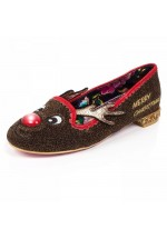 Irregular Choice Red Nose Roo Christmas Pumps (Brown Multi)
