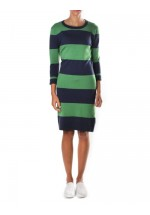 French Connection Rugby Stripe Bambi Dress Nocturnal/Juniper Green