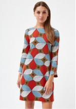Traffic People Don't Just Stare - Doris Long Sleeved Print Shift Dress  (Blue/Rust