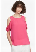 French Connection Classic Crepe Light Cold Shoulder Top (Hot Primrose)