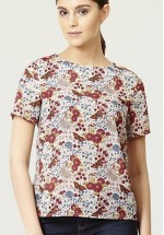 Ness Sky Printed Shell Top (Multi Butterfly)