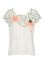 Sugarhill Boutique Tropical Flower Embroidered Top (White)