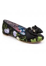 Irregular Choice Sulu Flat Glitter Shoes (Black)