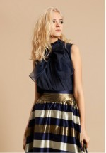 Traffic People Bow Blouse (Navy)