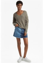 French Connection Two Tone Tweed Knit V Neck Jumper (Silver Mink Multi)