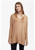 French Connection Viva Vhari Rib Sleeve Jumper (Indian Tan)