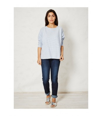 Braintree Magdalena Stripey Organic Cotton Top (Surf Blue)