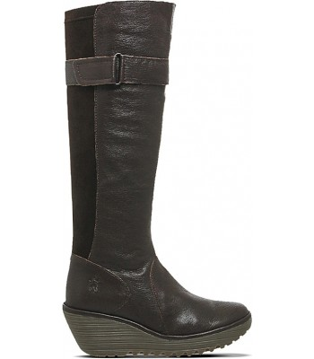 Fly London Yash Leather Knee high Boots Olive Brown Wedges