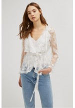 French Connection Elayna Lace Waterfall Jacket Summer White