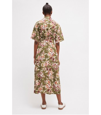French Connection Floriana Drape Midi Shirt Dress